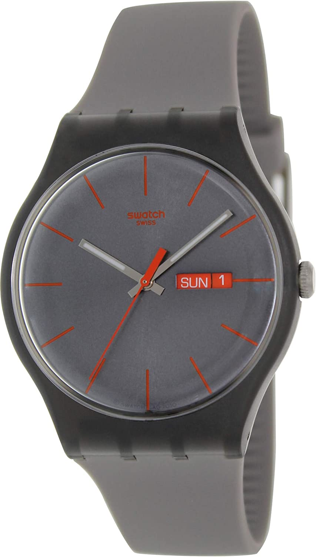 Swatch SUOM702 - Reloj analógico de mujer de cuarzo con correa de plástico marrón