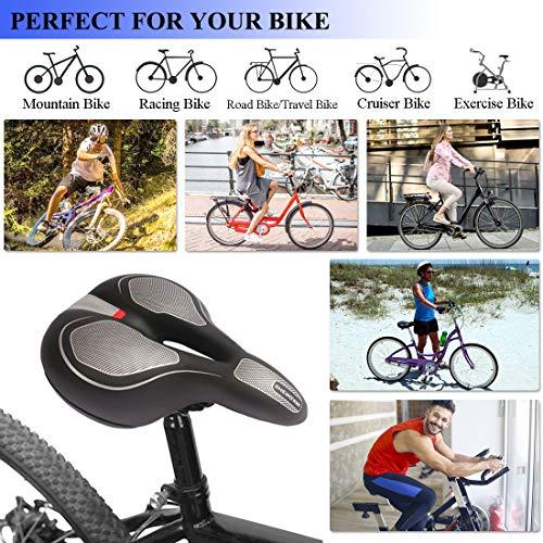 Sella Bici, Comodo Sedile Bicicletta con 16 in 1 Multiutensile,con Molla Antiurto e Nastro Riflettente Imbottitura in Memory Foam, per MTB e City Bike