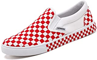 Shangruiqi Fashion Sneakers for Men Casual Skater Sports Shoes with Grid Pattern Low Top Slip On Elastic Canvas Round Toe Anti-Wear (Color : Red, Size : 8.5 UK)