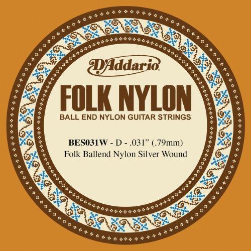 D'Addario BES031W - Cuerda para guitarra de nylon con entorchado de plata.031 (extremo de bola)
