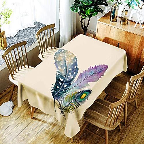 XXDD Mantel de Plumas de Colores Creativo pájaro Flor patrón Retro cómodo Mantel Impermeable para el hogar A1 135x160cm