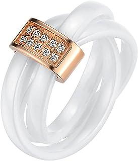 JewelryWe Gioielli Moda bianco Ceramica corda con Rose Gold Triciclici acciaio inox fidanzamento anello donna per annivers...