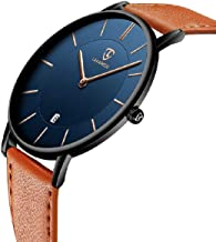 Watch, Mens Watch, Minimalist Fashion Simple Wrist Watch Analog Date with Leather Strap