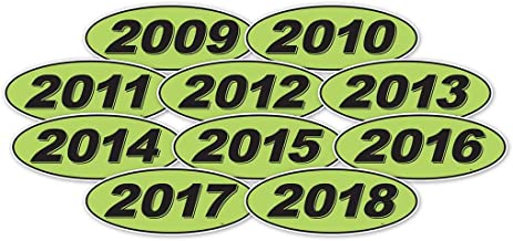 Donkey Auto Products Oval Model Years Window Stickers - 2009-2018 Multi-Year Pack (Black on Green)