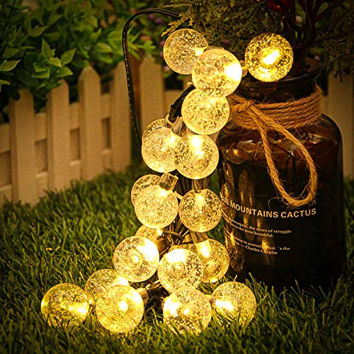 Nasharia Solar Lichterkette Außen, Lichterkette Kristall Kugel 40er LED Warmweiß 8 Modi IP65 Wasserdicht mit Lichtsensor Beleuchtung für Garten, Bäume, Terrasse, Hochzeiten, Partys