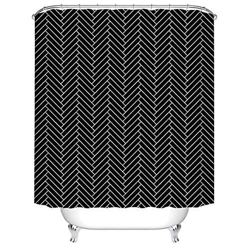XCBN Rideau de Douche décoratif rayé Blanc Noir Rideau de Salle de Bain Tissu Rideau de Douche Tissu imperméable Rideau de Bain A9 180x200 cm