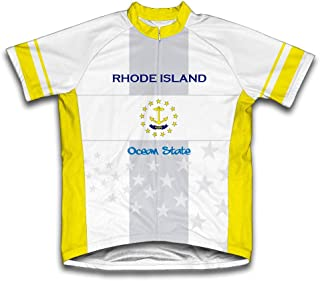 ScudoPro Rhode Island Flag Short Sleeve Cycling Jersey for Men