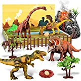 7PCS Dinosaur Toys Figures, Educational Realistic Dinosaur Playset, a Dino World and a Magic Volcano with Smokes, Lights & Sound for Kid
