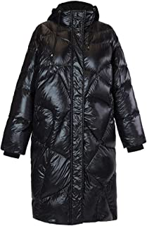 ZYDP Womens Hooded Duck Down Jacket Letters Printed Long Warm Winter Jacket Bright Color (Color : White, Size : XL)