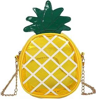 Milya Damen Mädchen 3D-Ananas-Förmig Tasche Transparent Clutch Schultertasche Umhängetasche Party-bags Abendtasche mit Zus...