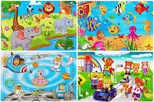 Wooden Jigsaw Puzzles for Kids Age 3-5 Year Old 30 Piece Colorful Wooden Puzzles for Toddler Children Learning Educational Puzzles Toys for Boys and Girls (4 Puzzles)