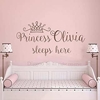 Princess Sleeps Here Wall Decal - Crown Wall Sticker for Girls Name Princess Nursery Decor Personalized Wall Decal (15