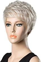 Toygogo Women Short Hair Wigs 25CM Fluffy Layered Wig With Bangs, Mixed Human Hair Cosplay Daily Party Wig for Women Girls Natural As Real Hair,Silver Gary