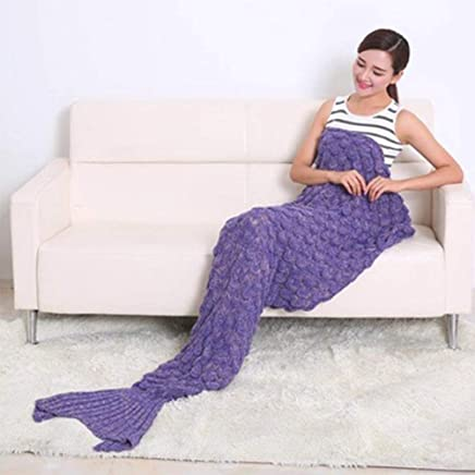 YOHOKO Super Soft Handmade Mermaid Tail Blanket - Living Room Sleeping Blanket with Scale for Adult