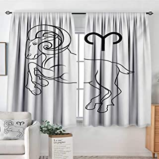 Elliot Dorothy Blackout Curtains Zodiac Aries,Monochrome Hand Drawn Style Jumping Horned Animal and Horoscope Sign,Black and White,Rod Pocket Drapes Thermal Insulated Panels Home décor 63
