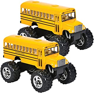 ArtCreativity 5 Inch Pullback School Bus Toy Set - Set of 2 - Includes 2 Yellow School Buses with Monster Wheels - Diecast...