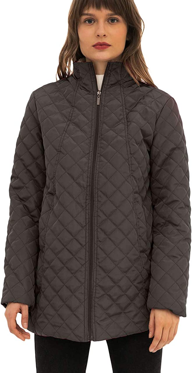 OMZIN Women's Fitted Quilted Puffer Jacket with Fleece Lined Casual Plus Size Coats