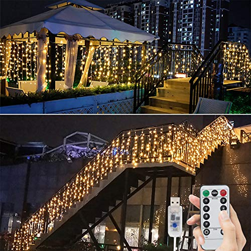 BLOOMWIN Guirnaldas Cortina de Luces 256 LED 6m*1m 6V Bajo Voltaje USB con Control Remoto 8 Modos Temporizador Ganchos Luces de Navidad Cadena para Navidad,Boda, Fiesta,Jardín,Ventana, Pared,Balcón