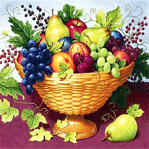 DIY 5D Diamond Painting by Number Kits, Fruits 45x45cm Full Drill Diamond Embroidery Art Pictures Rhinestone Cross Stitch Craft, for Relaxation and Home Wall Decor Y554