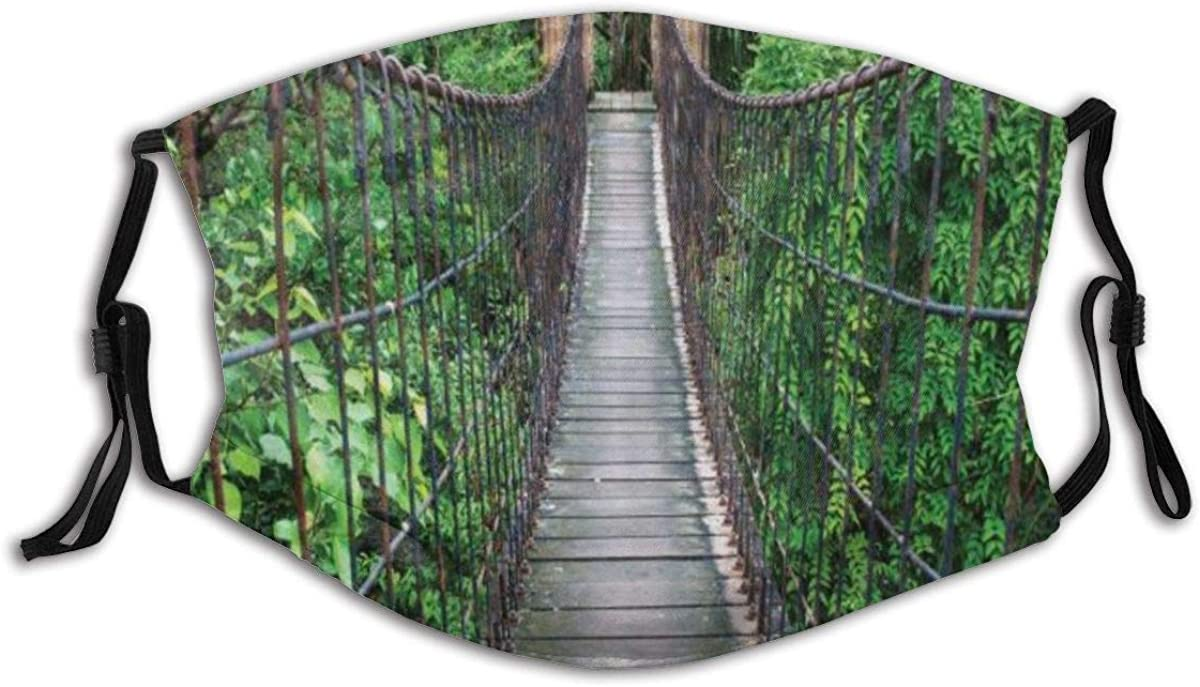 Unisex Reusable Nose Face Cover Jungle Rope Bridge Through The Treetops in an Indonesian Rainforest Dust Mouth Cover Adjustable Earloops with Replaceable Filter