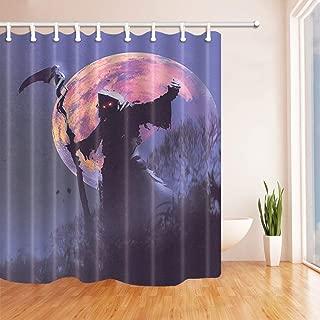 """Halloween Grim Reaper Bathroom Decor Fabric Shower Curtain Liner Doormat Set 72/"""""""