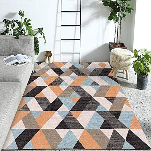 Alfombra de diseño Naranja Alfombra de Sala de Estar Naranja patrón de Rayas difusas Alfombra Suave Lavable alfombras de Salon 180X250CM alfombras habitacion 5ft 10.9''X8ft 2.4''