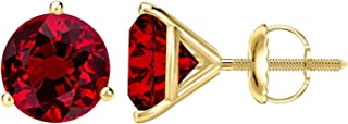 1/2 - 10 Carat Total Weight Ruby Stud Earrings 3 Prong Screw Back