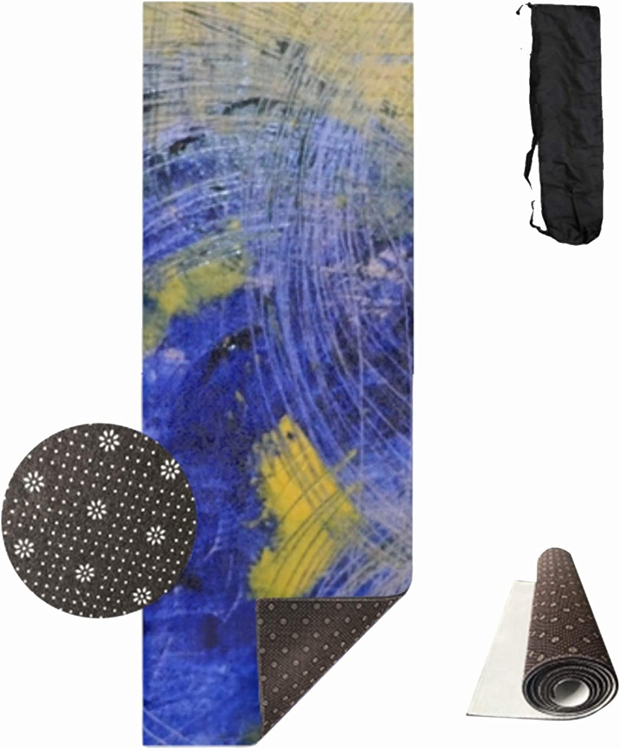 Qeeww Yoga Mat Flowers Fitness Mat Eco Friendly Material 70'' x 24'' NonSlip Extra Large Yoga Mat with Carry Bag