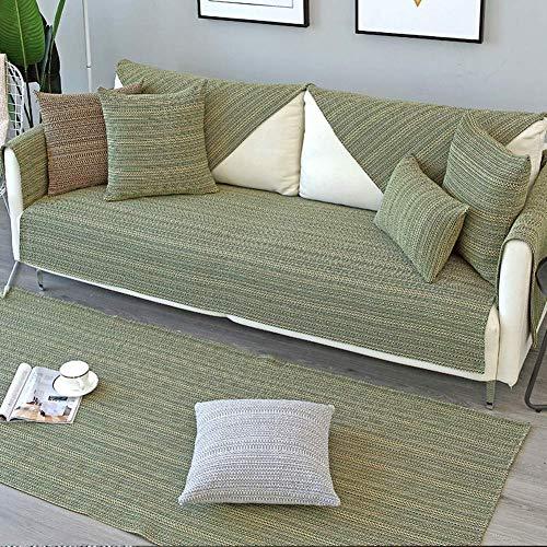 Fundas de algodón Gruesas de fácil Ajuste para sofá, Funda Protectora Suave y Lavable para Muebles, para sofá seccional en Forma de L Verde 90x160 cm (35x63 Pulgadas)