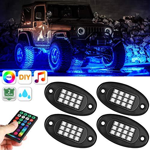 4 Pods RGB LED-Rock-Light-Kits mit Fernbedienung und Verlängerungskabel, 15 DIY-Modi Blinkender Musikmodus Unterleuchtendes Neon-LED-Licht Wasserdicht für Autos Jeep-Geländewagen SUV ATV-Auto-Boot