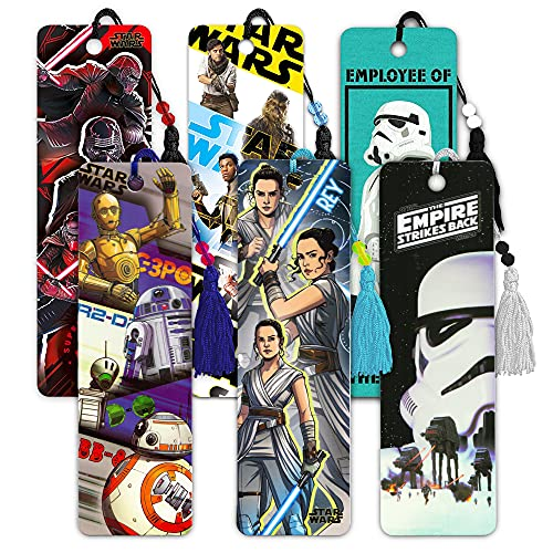 Star Wars Party Favors Super Set -- 6 Premium Star Wars Bookmarks Featuring The Force Awakens, Rogue One, and More (Star Wars Party Supplies)