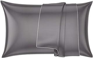 FENRIR Taie d'oreiller pour Cheveux et Peau 100 % Pure Soie 19 Momme avec Fermeture Éclair cachée 1 unité 50 x 75 cm,Gris