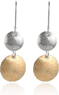 Stera Jewelry 925 Sterling Silver & 14k Gold Filled Graduated Textured Discs Dangle Earrings
