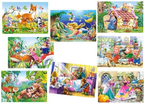 alles-meine.de GmbH 8 TLG. Set: Mini Puzzle / Minipuzzle 24 Teile - Märchen / Tiere - für Kinder Kinderpuzzle Minipuzzles Rotkäppchen Dschungelbuch