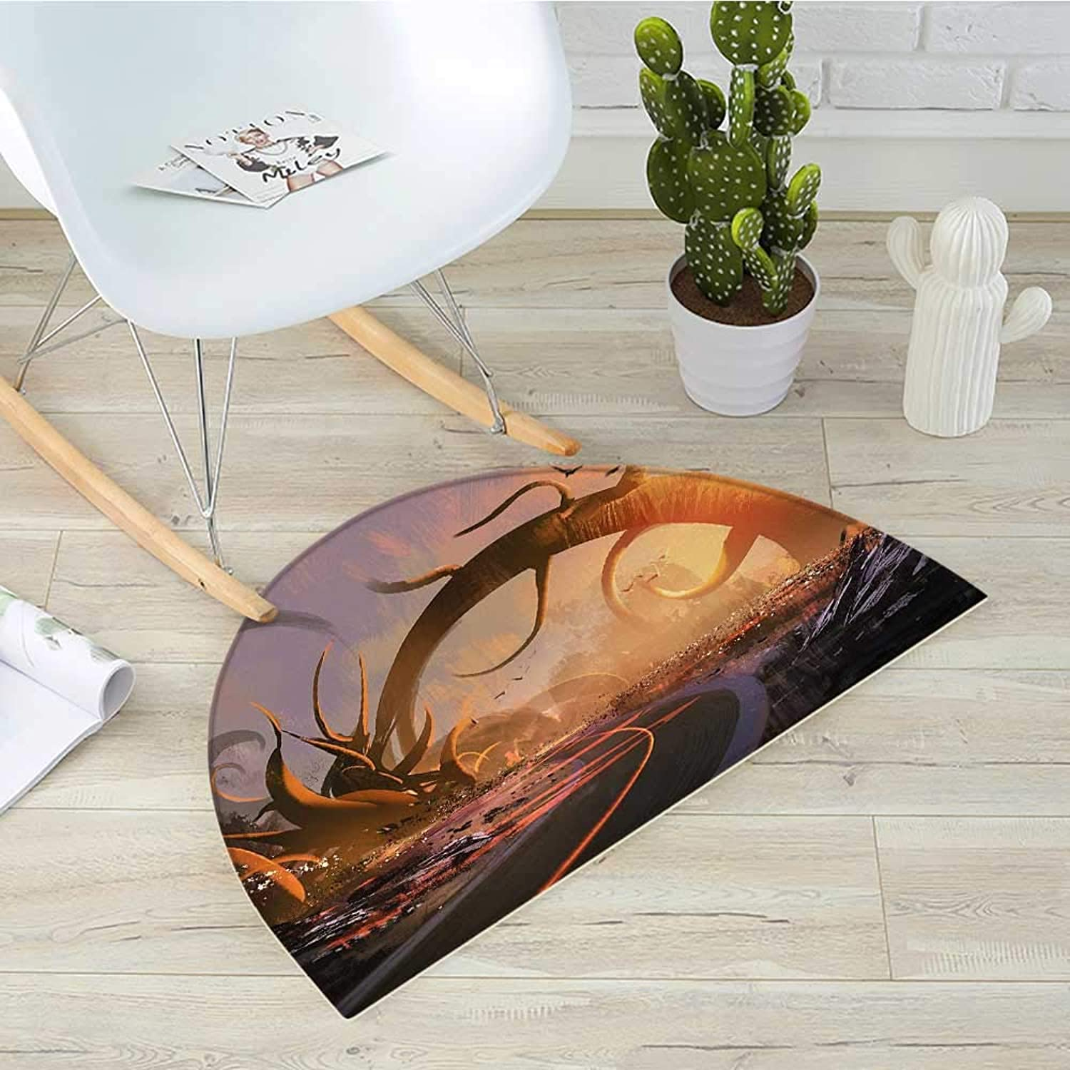 Fantasy Semicircular CushionFairytale Fiction Design with Mystic Twisted Branches on The Highway at Sunset Entry Door Mat H 35.4  xD 53.1  Multicolor