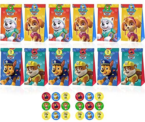 Tomicy Paw Dog Patrol Bolsas de papel, coloridas bolsas de regalo con 18 pegatinas, para envolver regalos, para cumpleaños, fiestas, bodas, 12 unidades