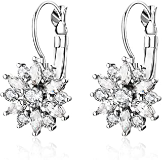 BAMOER 18K Rose Gold Plated Snowflake Leverback Earrings with Cubic Zirconia for Women CZ Jewelry Fashion Drop Earrings 3 Style