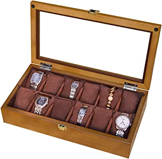 Luxury High-End Quality Suitable for 12 Watch Storage Box Wooden Watch Display Box Lockable Metal Buckle Jewelry Large Holder Boxes Gift