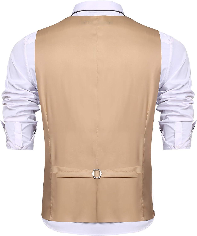 URRU Mens Business Dress Suit Vest Slim Fit Layered Plaid Wedding Waistcoat Casual Party Tuxedo Jacket S-XXL