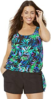 SWIMSUITSFORALL Swimsuits for All Women's Plus Size Side Tie Blouson Tankini Set with Cargo Short