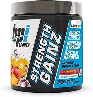 BPI Sports Strength Gainz – Best Pre & Post Workout – Muscle, Recovery, Endurance – Creatine, Dextrose, Peak O2, Amino 9, Himalayan Pink Salt – for Men & Women –Tropical Punch– 20 Servings – 11.3 oz.