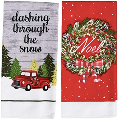 dollhouse Christmas Tree towels gift Christmas towels 12th scale Noel towels handmade Red Christmas towels