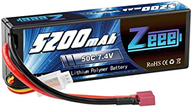 Zeee 5200mAh 7.4V 2S 50C Lipo Battery Hard Case with Deans T Plug for RC Truck RC Truggy RC Heli Airplane Drone FPV Racing (1 Pack)
