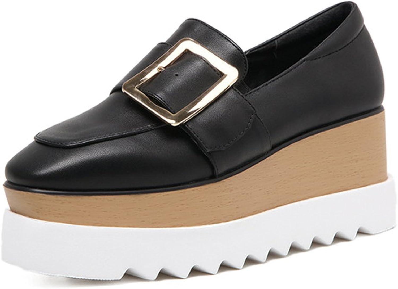 Ladola Womens Square-Toe Platform Cushioning Wedges Urethane Pumps shoes