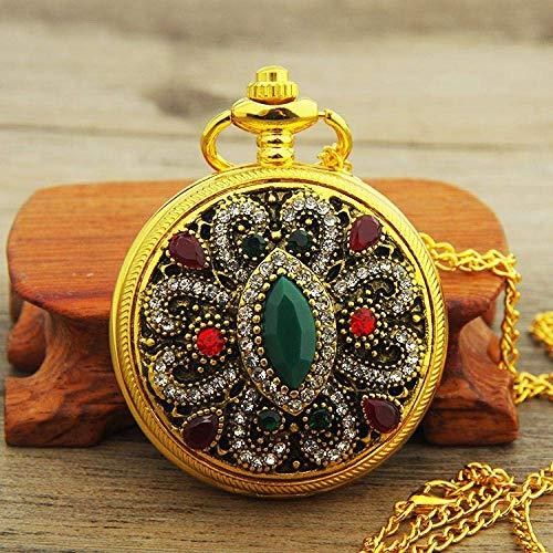 LXDDP Gold Palace Bohème Amour Coeur Rouge Montres De Poche Pull Vintage Montre De Poche Turque Pendentif Collier