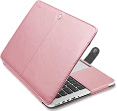 MOSISO Case Only Compatible with MacBook Pro 15 Inch with Retina Display (A1398, Version 2015/2014/2013/end 2012), Premium PU Leather Book Folio Protective Stand Cover Sleeve, Rose Gold