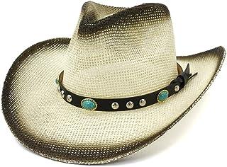 SHENTIANWEI Summer Western Cowboy Hat Outdoor Travel Beach Sun Hat Visor Painting Denim Turquoise Braid With Gentleman Hat Straw Hat