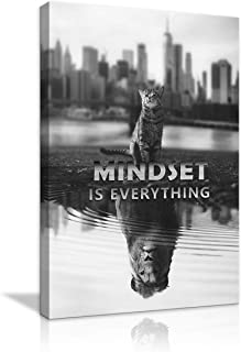 Mindset is Everything Motivational Canvas Wall Art Inspirational Entrepreneur Quotes Poster Small Cat Pictures Big Tiger Print Artwork Painting for Living Room Bedroom Office Framed Ready to Hang