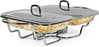Galashield Chafing Dish Food Warmer Stainless Steel with 2 Glass Dishes Buffet Server Warming Tray with Ladle (1.5-Quart Each tray)