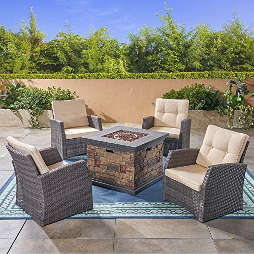 5pc Beige and Gray Contemporary Outdoor Patio Fire Pit Set 30'